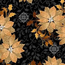 "Gold Poinsettias on Black B/G-Quilting Treasures-""A Golden Holiday"" Col.-BTY"