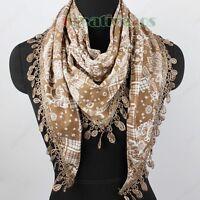 Fashion Women's Totem Floral Print Lace Tassel Soft Cotton Triangle Scarf Shawl