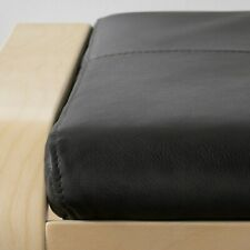 New Ikea POANG LEATHER Footstool cushion...Smidig Black leather