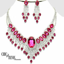 CLEARANCE PINK CRYSTAL CHUNKYFORMAL WEDDING NECKLACE JEWELRY SET CHIC & TRENDY