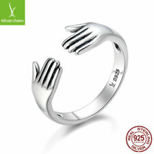 2017 New Arrival Ring 925 Sterling Silver Double Give Me A Hug Hand Open Rings