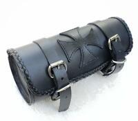 Sacoche de fourche en Cuir Croix de Malte ( moto custom harley shadow sportster