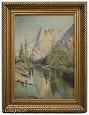 Antique Oil Painting Of Yosemite Valley, Sentinel Rock, Merced River Signed!