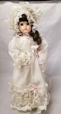 """House of Lloyd Girl Doll: 16"""" White Nightgown, Porcelain Face, Hands, Feet Stand"""