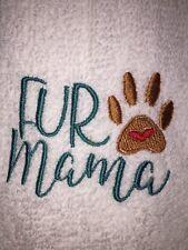 Embroidered Bathroom Hand Towel /Cloth Set  H1245 FUR MAMA w Paw & Heart