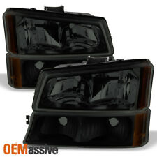 Fit 2003-2006 Chevy Silverado Avalanche Black Smoked Headlights+Bumper Lights