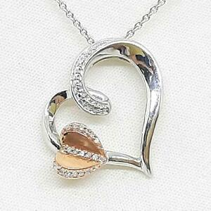 Genuine .10ctw H-SI Diamond 10K Rose Gold 925 Sterling Silver Heart Necklace 4g