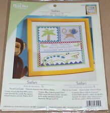 "Bucilla ""Safari Baby"" Birth Record Cross Stitch Kit 11.5"" - Monkey & Crocodile"