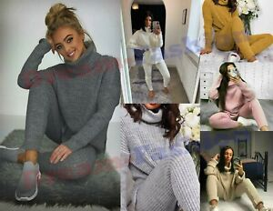 Womens Chunky Knitted Rib Loungewear Ladies Polo High Neck Top Leggings Suit Set