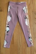Justice Active High Waist Ankle Rose Floral Legging Accented with Gold Foil