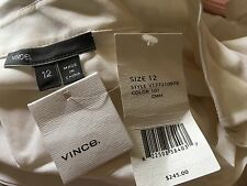 NWT Vince White Silk Popover Long Sleeve Shirt Blouse XS $275