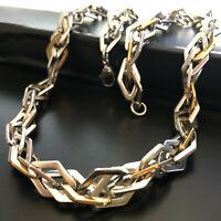 Inox collana in acciaio oro da uomo catena rombi girocollo 55 cm argento punk