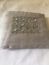 "Debenhams Silver Silk  Purse 4 1/4"" X 3 1/2"""