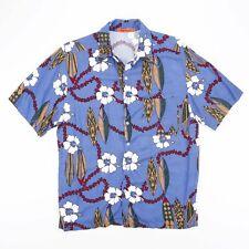 Vintage SUN FUSION Blue Floral Patterned Surfer Shirt Size Mens Medium