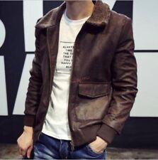 Retro Japan Style Jacket Pilot Coat Mens Motorcycle Biker Zipper Fleece Collar