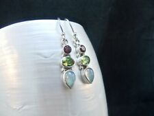 Ethiopian Opal, Peridot & Garnet Gemstone Sterling Silver Drop Earrings