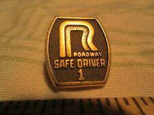 Vtg Roadway 1 Year Trucking Safety Driver Award Driving Screwback Pin