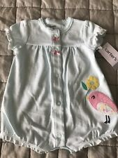 Carter's Baby Girl Bird Appliqué Striped Snap-up Newborn Romper Clothes