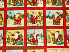 Santa's Journey Small Squares Christmas Fabric Panels 23""