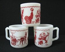 lot 3 HAZEL-ATLAS white glass mugs RED CIRCUS images CLOWN SEAL DONKEY