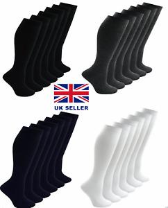1,2,3,6,12 Pair Ladies Girls Long Knee High Plain Cotton Uniform Sock All Sizes