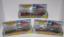 DIE CAST MICRO POWER TRAIN SET - MOTORIZED PULL & GO - BLUE, GREEN & RED SETS