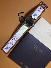 Authentic Louis Vuitton White Multicolor Band Tambour Watch Wristwatch W/ Box