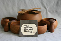 MidCentury Teak Wood Salad Bowl Barrel Set 9PC Vtg Galloping Gourmet Graham Kerr
