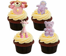 Baby Shower Girl, Edible Cup Cake Toppers Stand-up Christening Decorations Pink