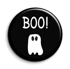 Boo! Cute Retro Ghost Halloween Funny Novelty Button Pin Badge - 38mm/1.5 inch