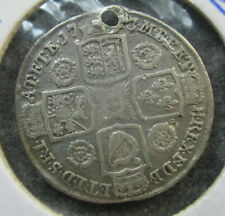 Great Britain 1743 George II Shilling Silver Coin  Holed Better Detail