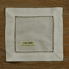 N022-6:  12 pcs Beige Hemstitched Linen Cloth Coasters Cocktail Napkins