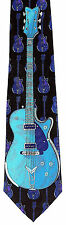 Electric Blue Guitar Mens Neck Tie Music Necktie Guitarist Musican Gift New