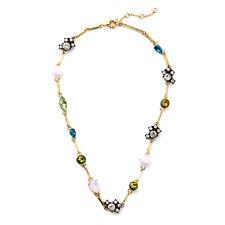 Multi Gemstones On Long Station Necklace Sparkling Crystal Pavé Drop Blue Pink