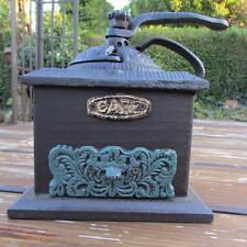 Macinacaffè in ghisa e legno tradizionale stile vintage verde CASSETTO pesanti