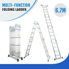 6.7M Multi Purpose Aluminium Folding Extension Ladder Step Telescopic Fold
