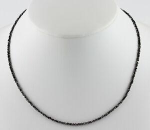 Schwarz Diamant Halskette Echt Rohdiamant 925 Silberkarabiner heilstein 18 karat