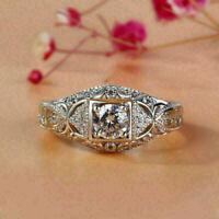 Filigree Engagement Wedding Vintage Retro Ring 14K White Gold Over 2.4Ct Diamond