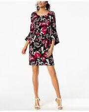 INC Floral Printed Bell Sleeve Black/Fuchsia Sheath Dress Size S MSRP $99  190