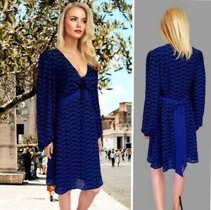 OSSIE CLARK DRESS UK14 BLUE MIX CHIFFON LONG SLEEVE SWING DRAPED KNEE LENGT #12