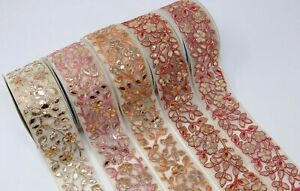6cm wide 1M Indian Embroidered With Gota Ribbon Decorative Lace Trim Craft Sewon
