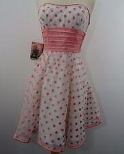 Betsey Johnson Evening Strapless Party Dress White Pink Polka Dot size 6 Vintage