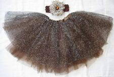 3pc Cheetah Tulle Tutu Skirt Ballet Dance Photo Headband Girl Cat Party Dress Up