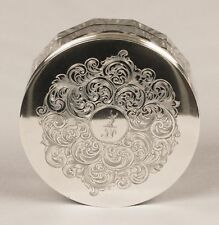 SILVER & GLASS VANITY POWDER JAR LONDON 1850