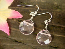 Faceted Pink Glass Teardrop Silver Dangle Earrings Gemstone USA Handmade