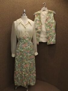Classy Chic Vtg 60s Montgomery Ward 2 Pc Floral Maxi Dress Sz 12 Textured Sheer