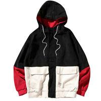 Men's Hooded Hip Hop Jackets Hoodies Coats Casual Block Patchwork Corduroy Cloth