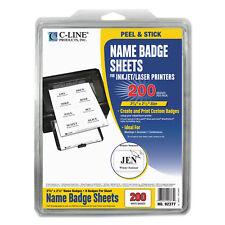 C-Line Laser Printer Name Badges 3 3/8 x 2 1/3 White 200/Box 92377
