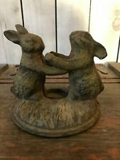 Cast Iron Bunny Rabbits Playing Garden Rare Rustic *Open To All Offers*