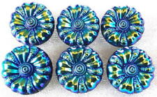 "6 Czech Vintage Glass Buttons #G969 - 23 mm - 7/8"" - BLUE IRIDESCENT FINISH"